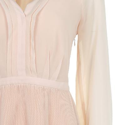 pin-tuck detail wrinkle dress pink